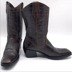 Tony Lama Leather Animal Print Mid Calf Western